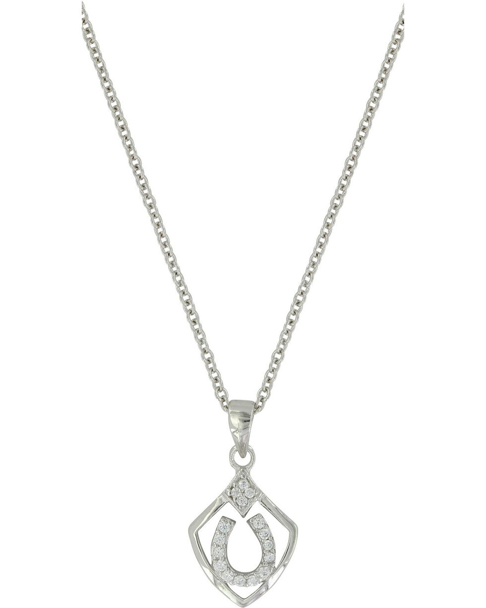 Montana Silversmiths Women's Shielded in Horseshoes Necklace , Silver, hi-res
