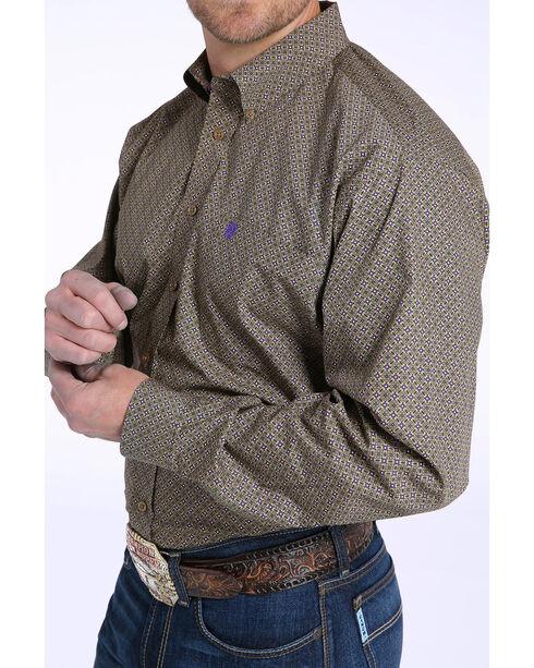Cinch Men's Tan & Purple Geometric Print Long Sleeve Button Down Shirt, Tan, hi-res