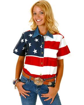 Roper Women's American Flag Short Sleeve Western Shirt , Red, hi-res