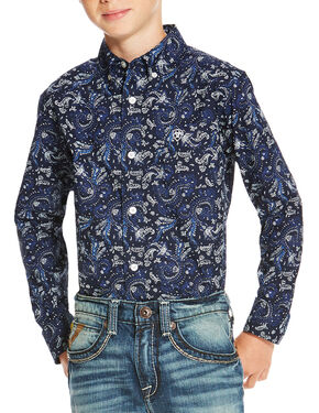 Ariat Boys' Indigo Olex Print Long Sleeve Shirt , Indigo, hi-res