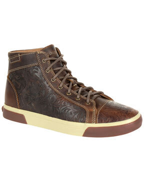 Durango Women's Western Embossed High-Top Sneakers - Round Toe, Dark Brown, hi-res