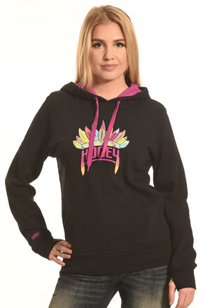 Hooey Women's Black Indian Headdress Logo Hoodie , Black, hi-res