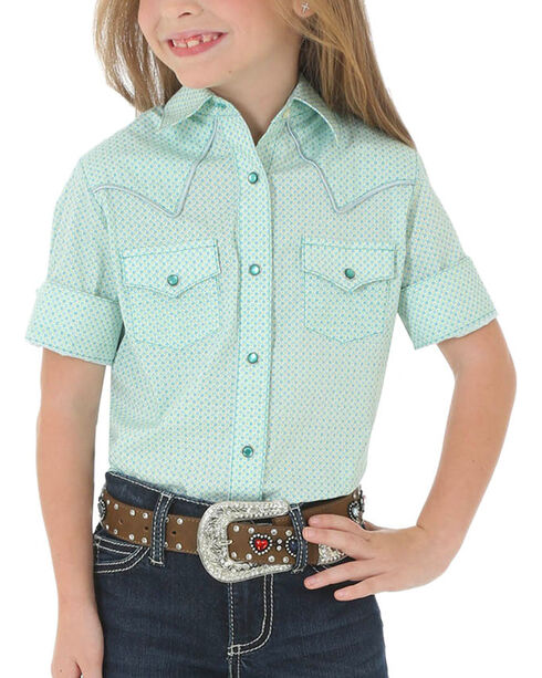 Wrangler Girls' Turquoise Western Snap Shirt , Turquoise, hi-res
