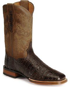Dan Post Gel-Flex Cowboy Certified Caiman Stockman Boots, Chocolate, hi-res