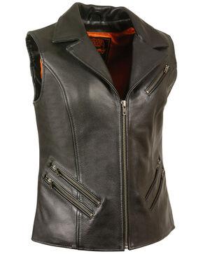 Milwaukee Leather Women's Lapel Collar Long Zipper Front Vest - 3X, Black, hi-res