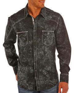 Rock & Roll Cowboy Men's Paisley Print Long Sleeve Snap Shirt, Black, hi-res