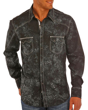 Rock & Roll Cowboy Men's Paisley Print Long Sleeve Snap Shirt, Black, hi-res