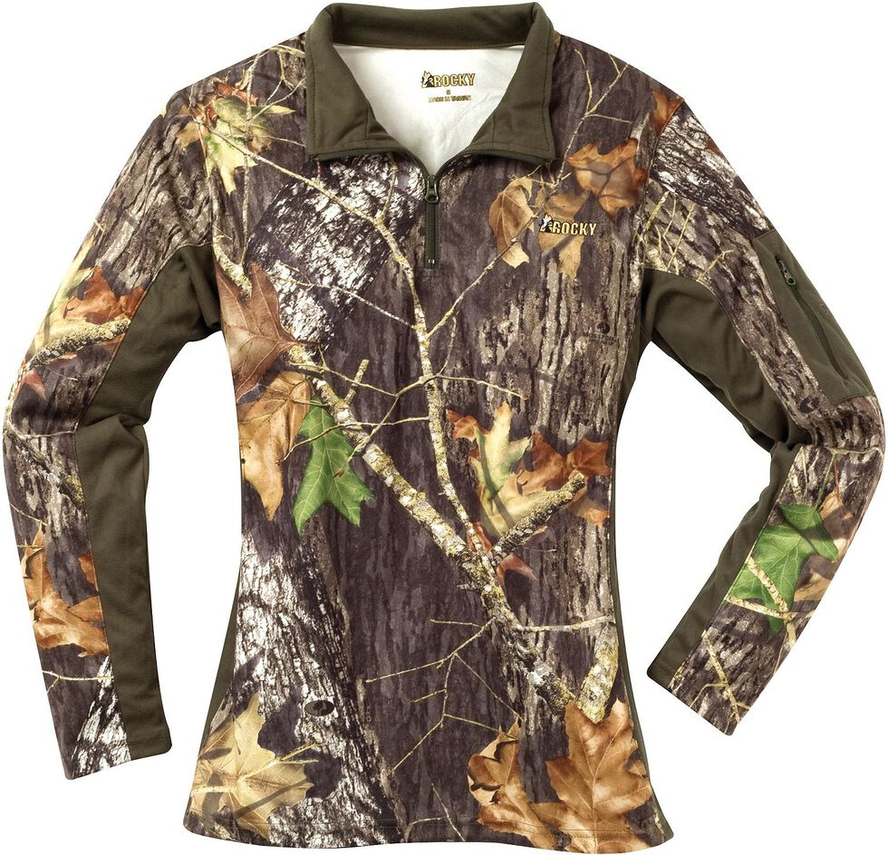 Rocky Women's SilentHunter Zip Shirt, Mossy Oak, hi-res