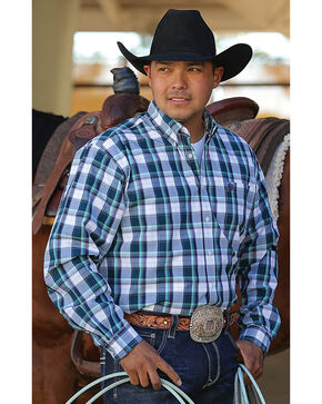 Cinch Men's Blue Godfrey Long Sleeve Western Shirt , White, hi-res