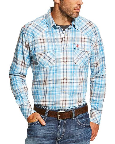 Ariat Men's Blue FR Maddox Retro Shirt, Blue, hi-res