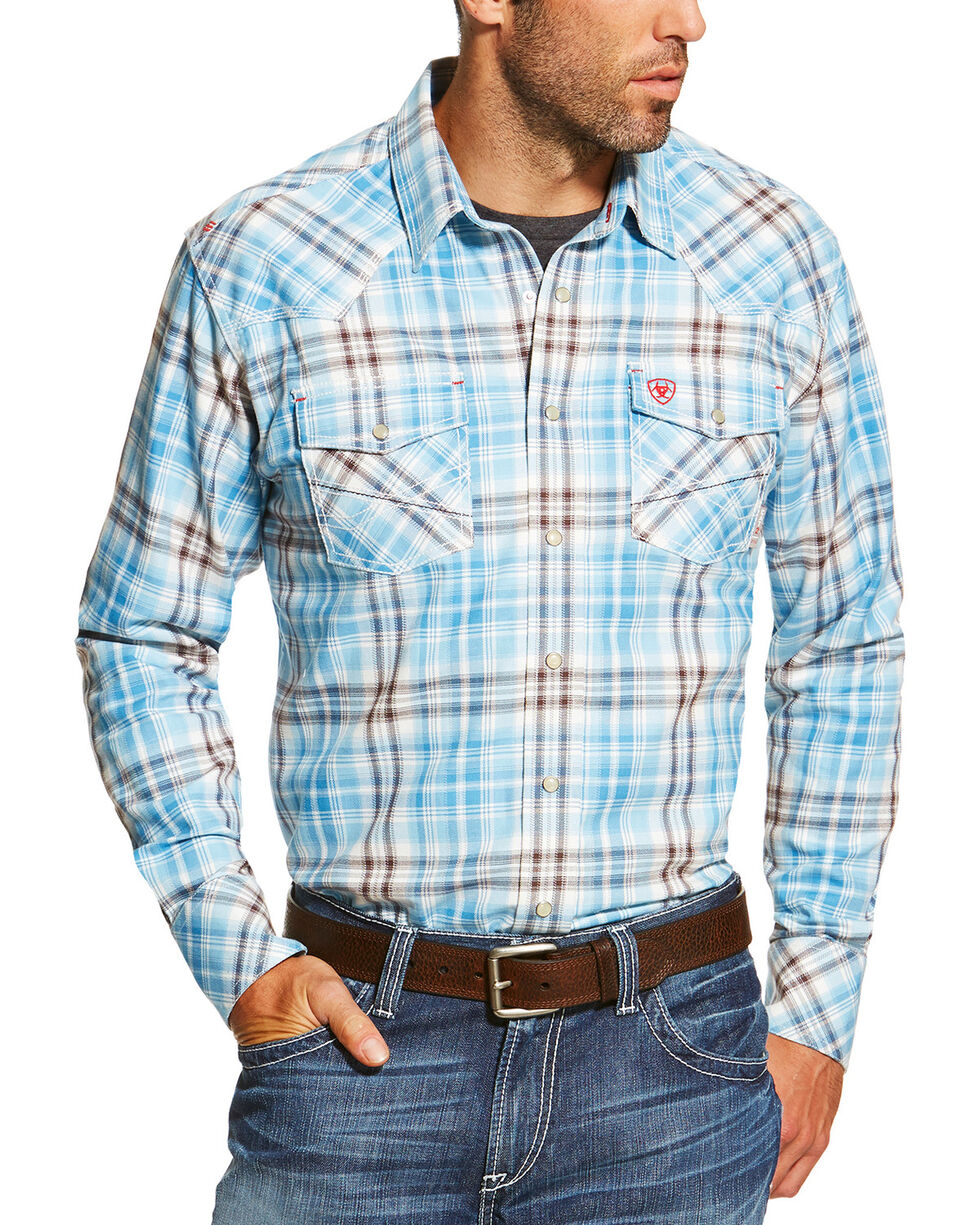 Ariat Men's Blue FR Maddox Retro Shirt, Blue, hi-res