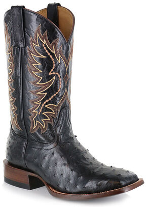 Cody James Men's Full Quill Ostrich Exotic Boots - Square Toe , Black, hi-res