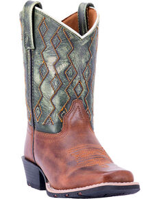 Dan Post Boys' Teddy Western Boots - Square Toe , Green, hi-res