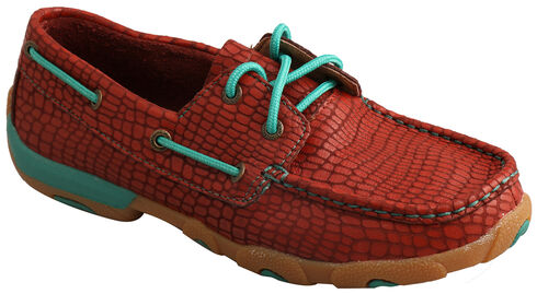 Twisted X Women's Red Print Driving Mocs , Red, hi-res