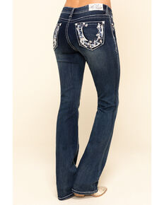 Grace in LA Women's Dark Wash Floral Horseshoe Bootcut Jeans , Blue, hi-res