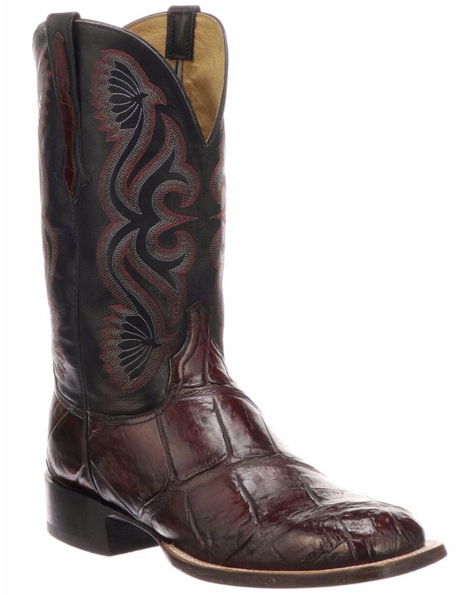 Lucchese Men's Roy Black Cherry/Black Giant Gator Horseman Boots - Square Toe , Black Cherry, hi-res