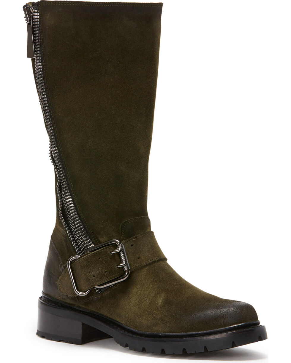 Frye Women's Forest Samantha Zip Tall Boots - Round Toe , Dark Green, hi-res