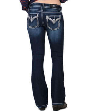 Miss Me Women's Rhinestone and Pearls Signature Jeans - Boot Cut, Blue, hi-res