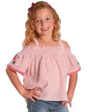 Idol Mind Girls' Bandana Print Off The Shoulder Shirred Top, Pink, hi-res