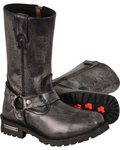 "Milwaukee Leather Men's Black 11"" Classic Harness Boots - Square Toe , Black, hi-res"