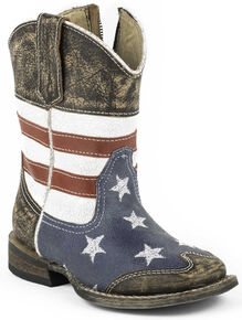 4d1f547a4349c Roper Toddler Boys American Flag Inside Zip Cowboy Boots - Square Toe, Dark  Brown,