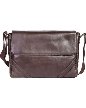 Scully Brown Leather Messenger Briefcase, Brown, hi-res