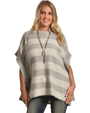 ILLA ILLA Women's Grey Striped Sweater Poncho , Grey, hi-res