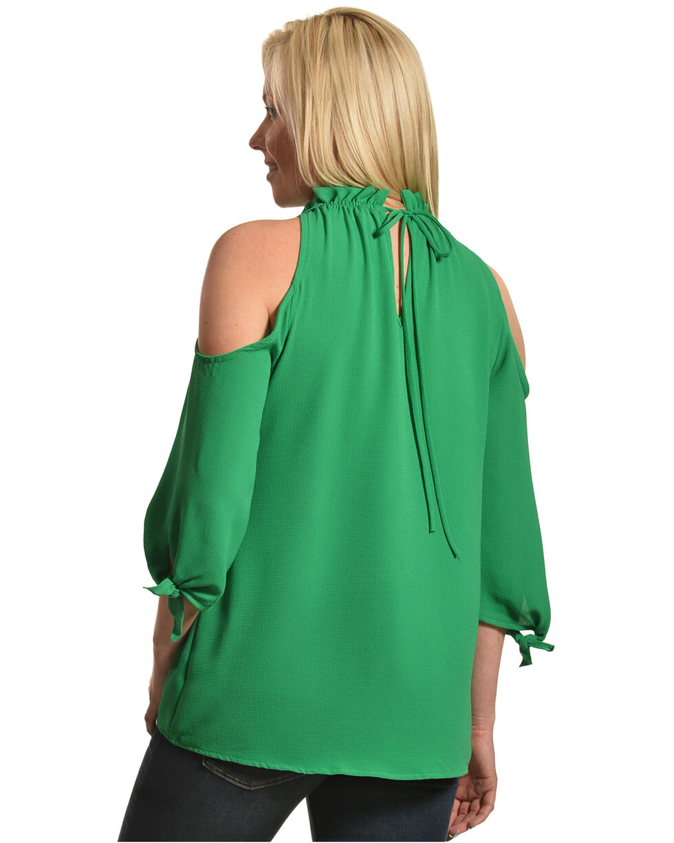 CES FEMME Women's Green Cold Shoulder Ruffle Top , Green, hi-res