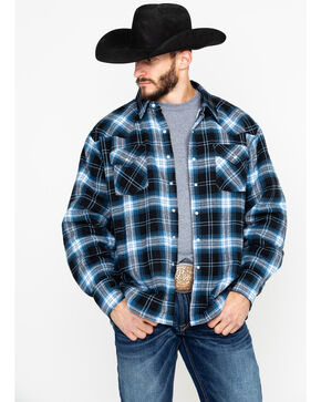 Ely Cattleman Men's Sherpa Lined Brawny Plaid Western Flannel Shirt Jacket, Black, hi-res