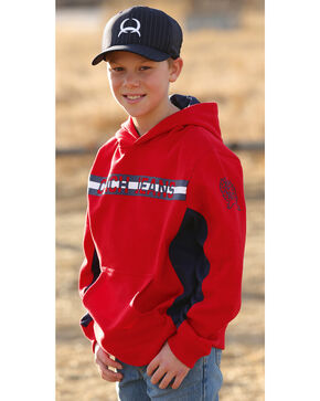 Cinch Boys' Logo Pullover Hoodie, Red, hi-res