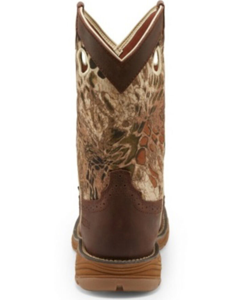 Justin Men's Stampede Grizzly Brown Western Work Boots - Steel Toe, Camouflage, hi-res