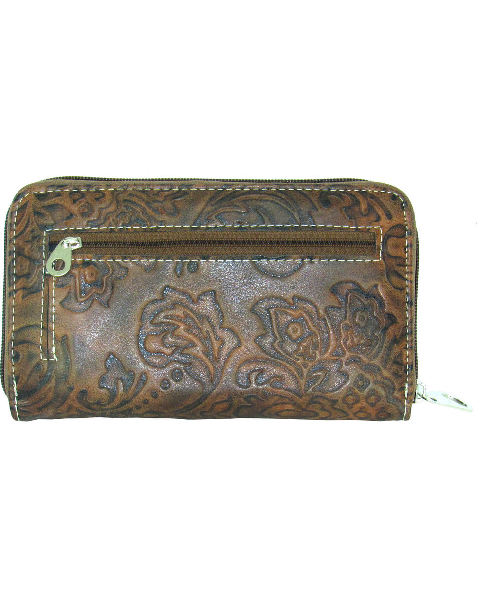 Savana Women's Tooled Zip Around Wallet, , hi-res