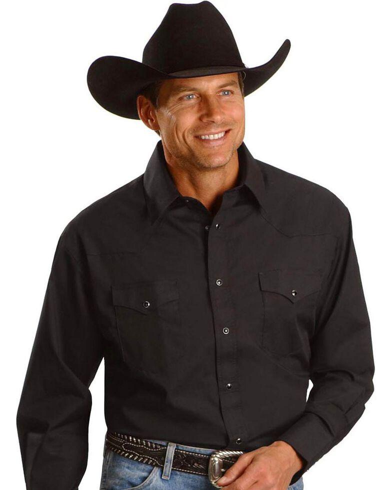 Wrangler Men's White Solid Long Sleeve Western Shirt - Big & Tall, Black, hi-res