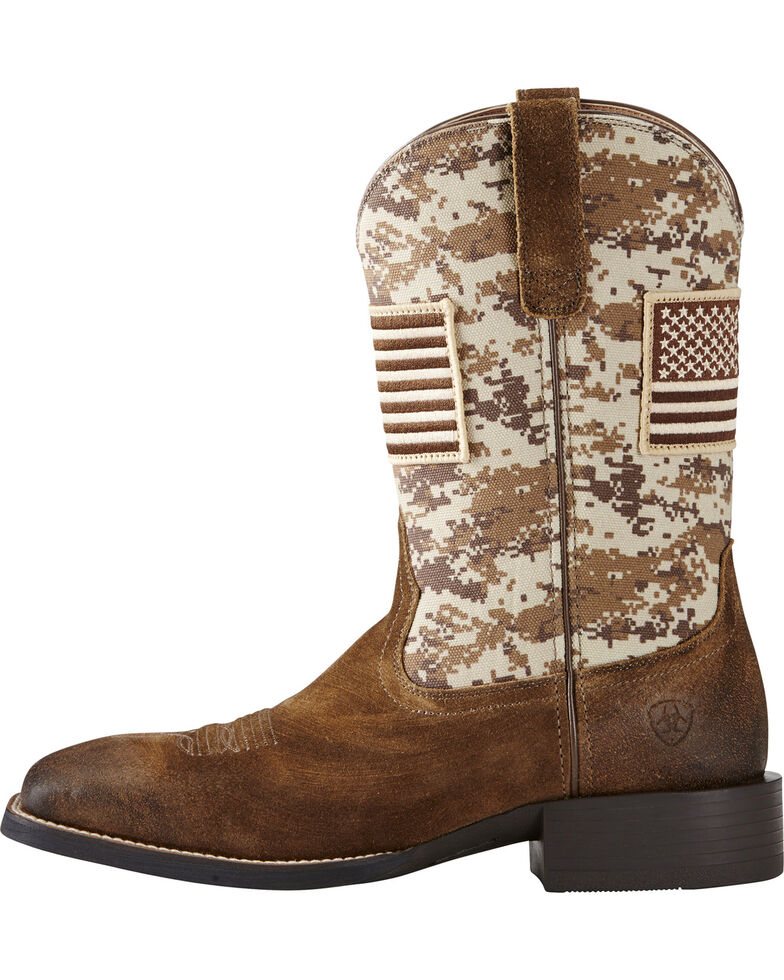 Ariat Men's Sport Patriot Western Boots - Wide Square Toe, Brown, hi-res