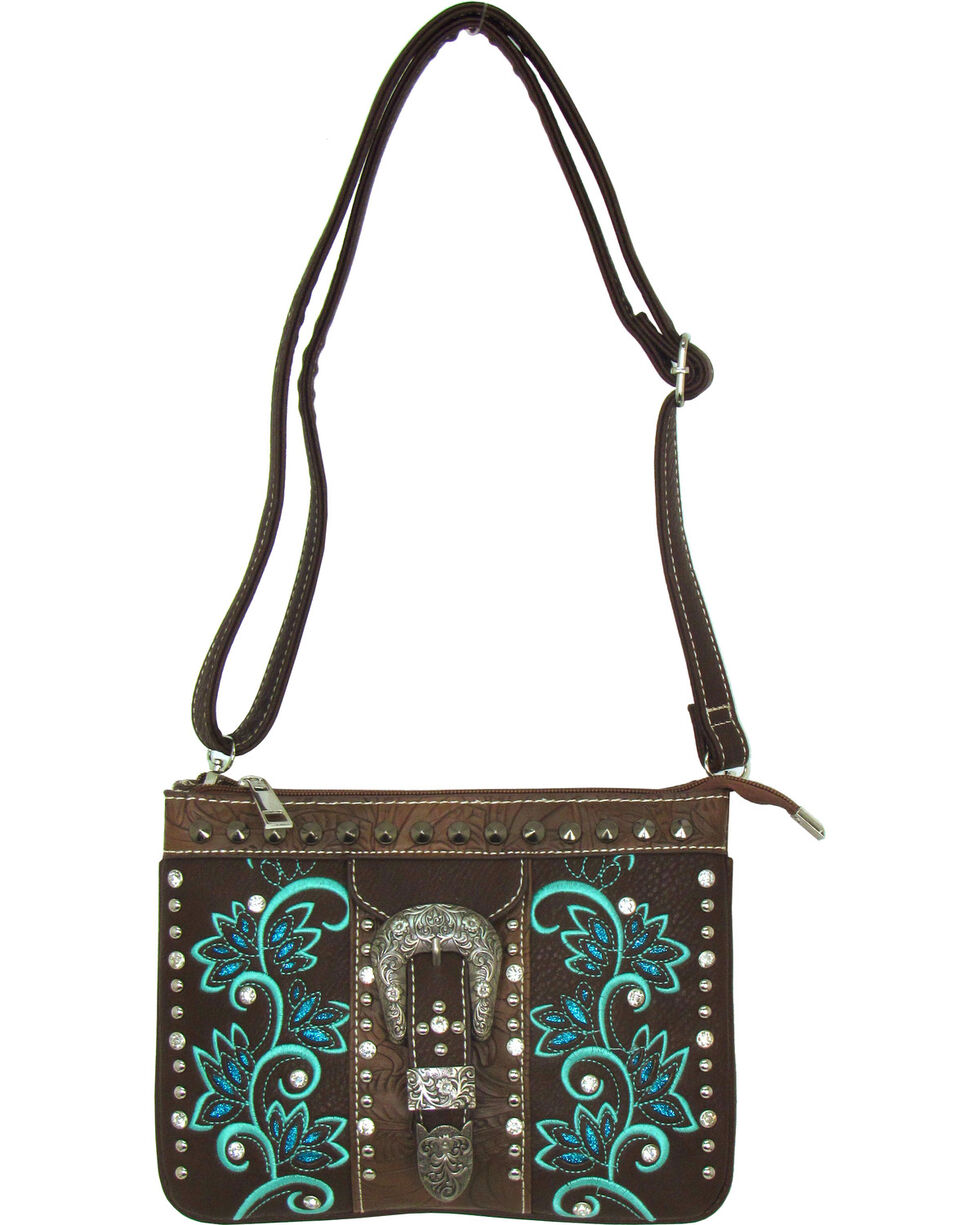 Savana Women's Brown Buckle and Embroidered Crossbody , Brown, hi-res