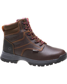 "Wolverine Women's Brown Piper Waterproof 6"" Work Boots - Soft Toe , Brown, hi-res"