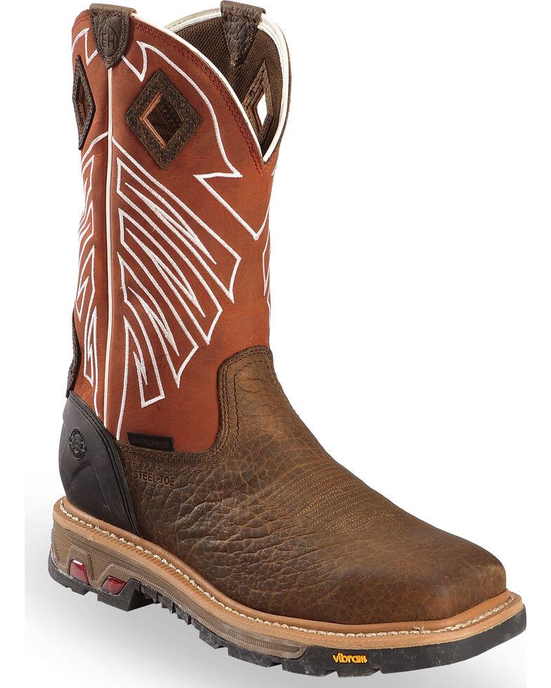 Justin Men's Roughneck Chestnut EH Waterproof Work Boots - Steel Toe, Brown, hi-res