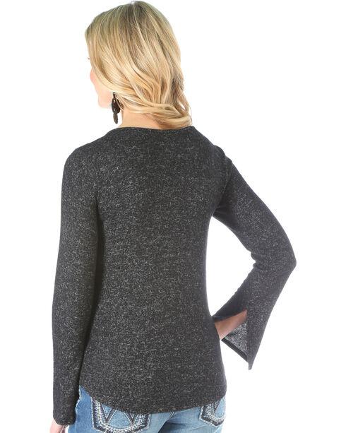 Wrangler Women's Criss Cross Neck Sweater Knit Top, Black, hi-res