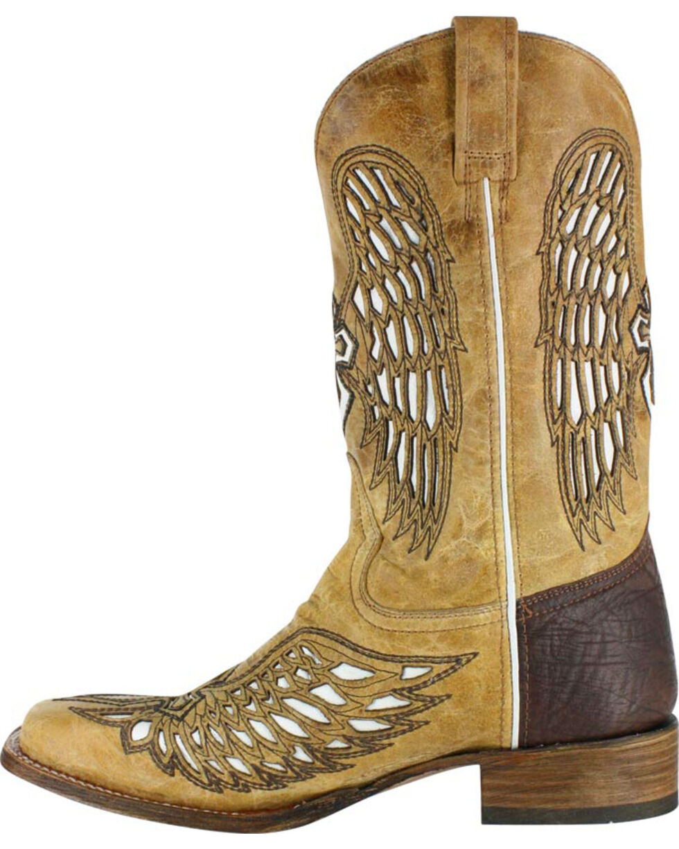 Corral Men's Wing and Cross Inlay Western Boots - Square Toe , Tan, hi-res