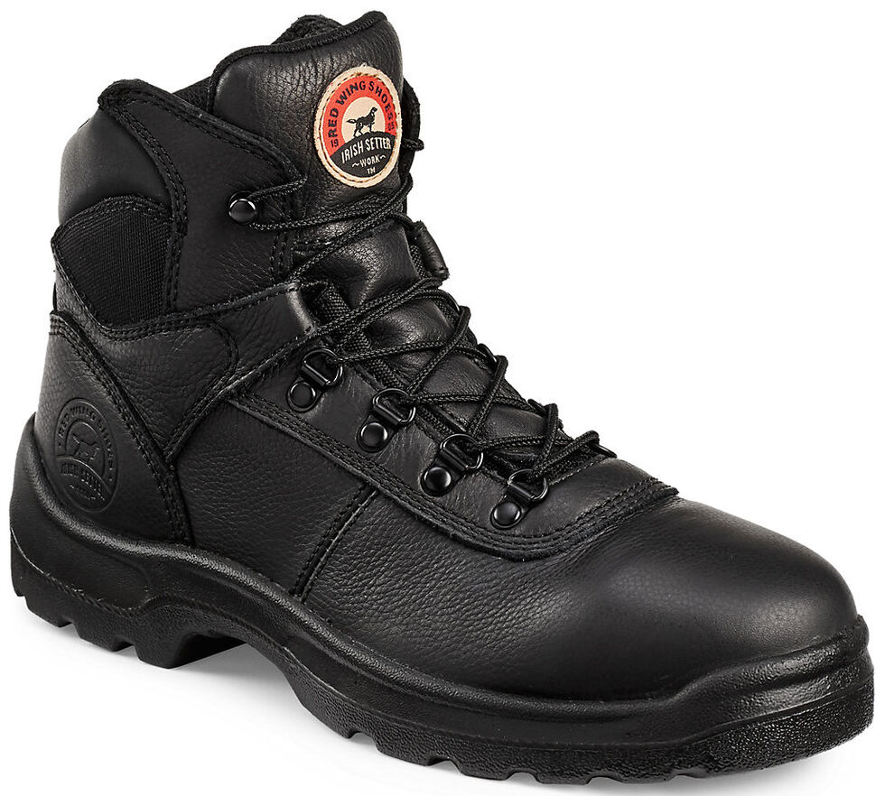 """Irish Setter by Red Wing Shoes Men's Ely Black Hiker 6"""" Work Boots - Steel Toe, Black, hi-res"""