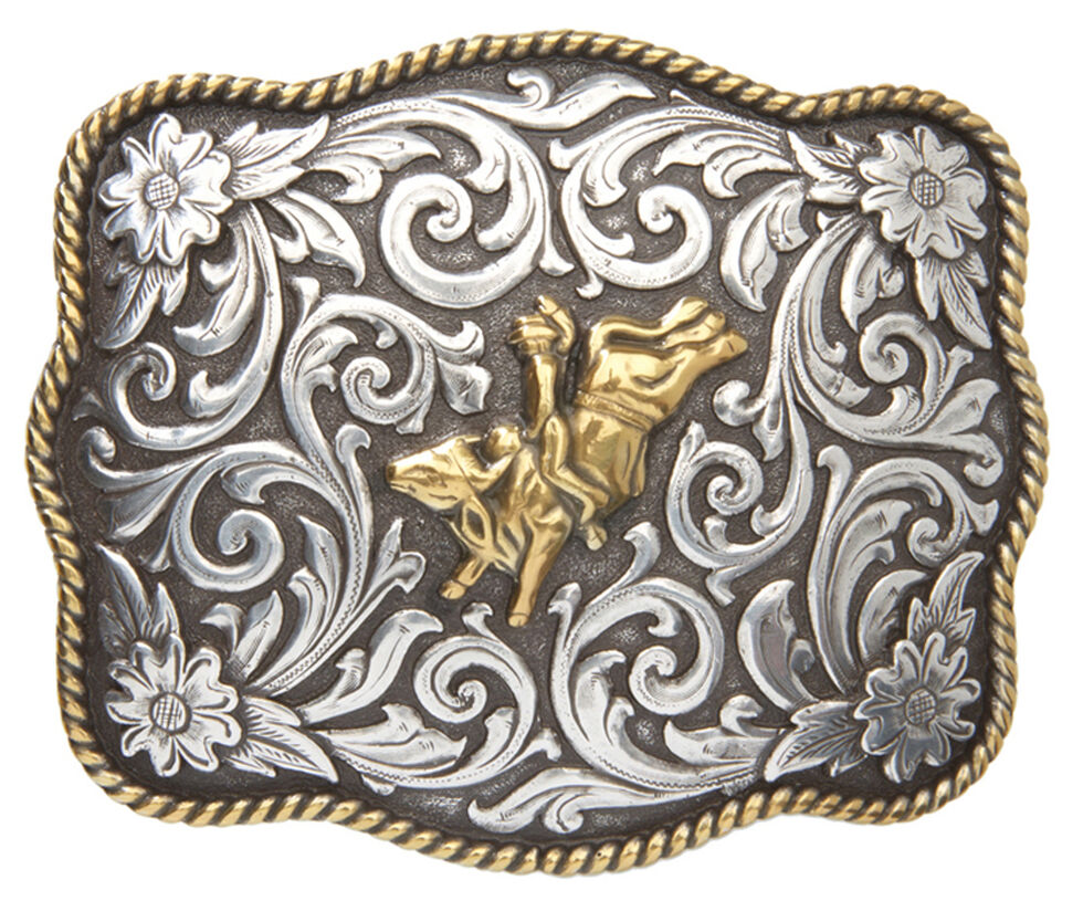 AndWest Men's Two-Tone Bull Rider Belt Buckle, Two Tone, hi-res