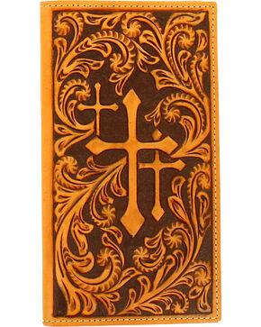 Nocona Men's rodeo Embossed Scrolling Triple Cross Wallet , Tan, hi-res