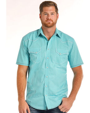 Rough Stock by Panhandle Men's Pitkin Vintage Print Short Sleeve Shirt, Turquoise, hi-res