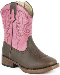 Roper Toddler Girls' Pink Full-Grain Leather Western Boots - Square Toe, Pink, hi-res
