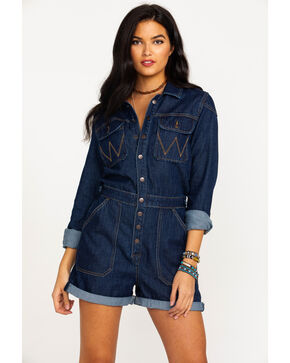 Wrangler Women's Modern Denim Playsuit Long Sleeve Romper , Blue, hi-res