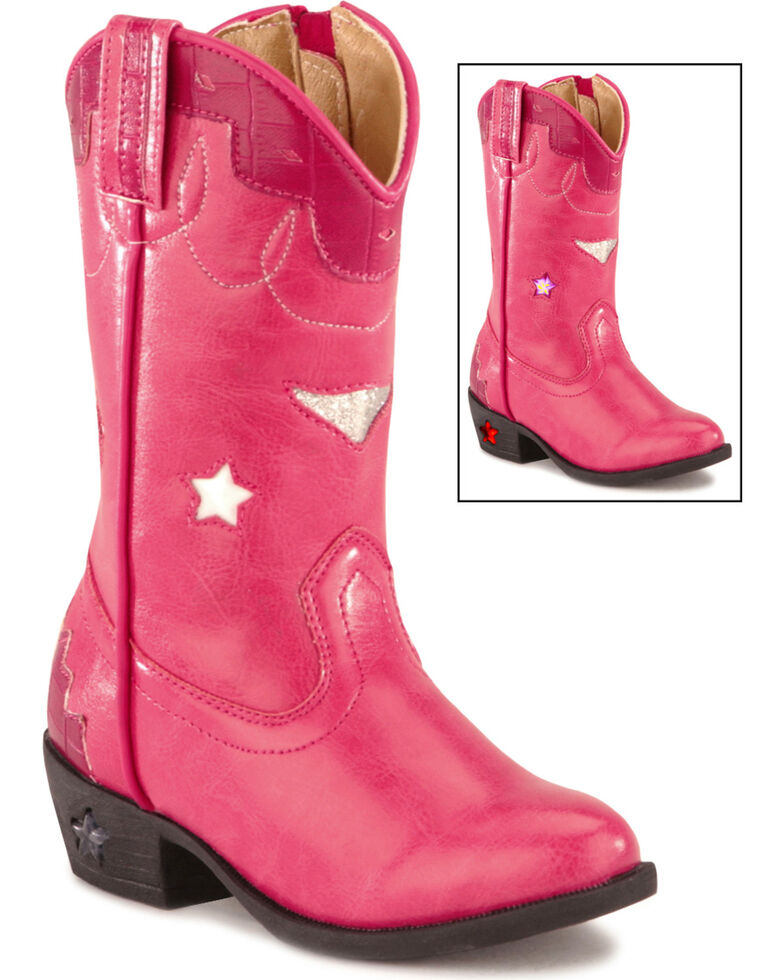 Smoky Mountain Toddler Girls' Stars Light Up Pink Boots - Medium Toe, Hot Pink, hi-res