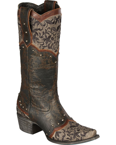 Lane Kimmie Embroidered Cowgirl Boots - Snip Toe, Black, hi-res