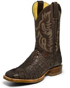 Justin Men's Voltage Exotic Caiman Western Boots - Wide Square Toe, Brown, hi-res