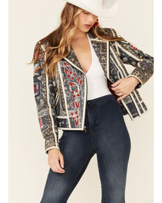Double D Ranch Women's Liberty & Justice For All Zip-Front Jacket , Indigo, hi-res