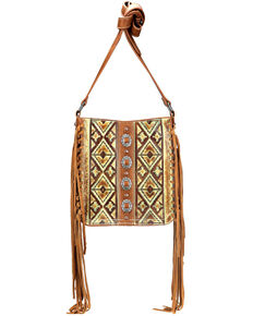 Trinity Ranch Women's Tribal Pattern Crossbody Purse, Brown, hi-res